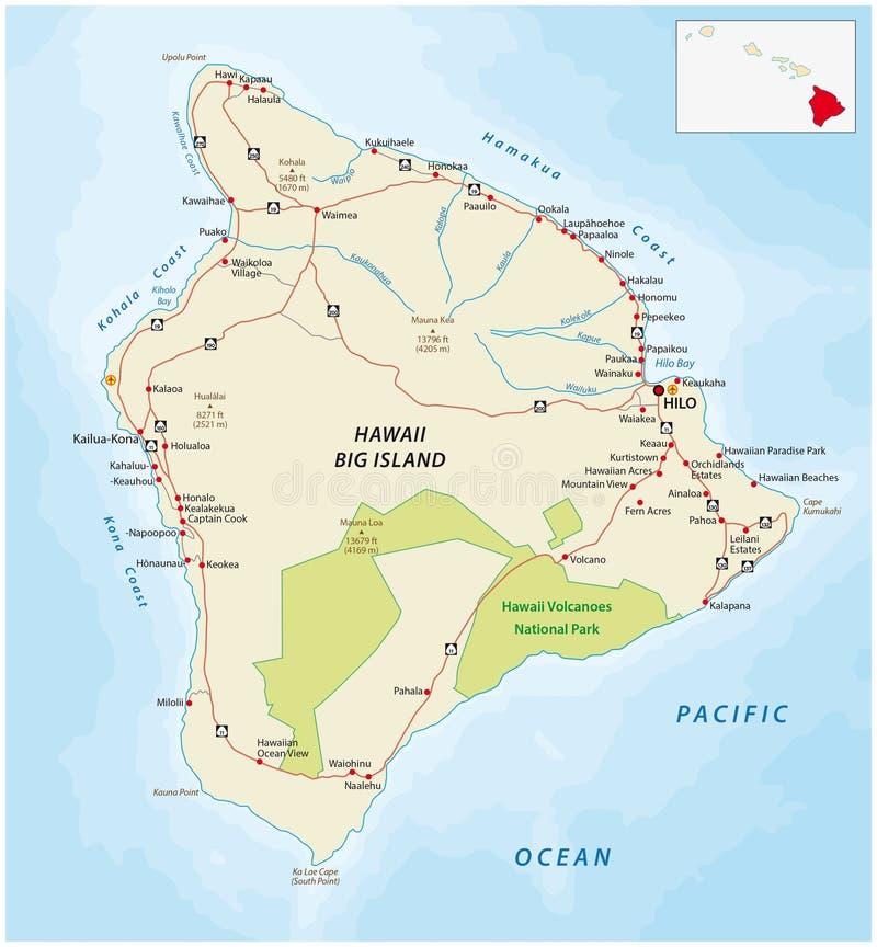 havai mapa Mapa De Estradas Da Ilha Grande, Havaí Ilustração Stock  havai mapa