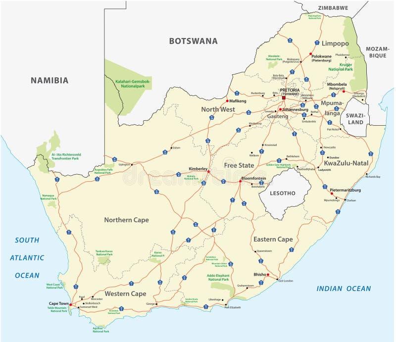 Mapa de estradas de África do Sul ilustração royalty free