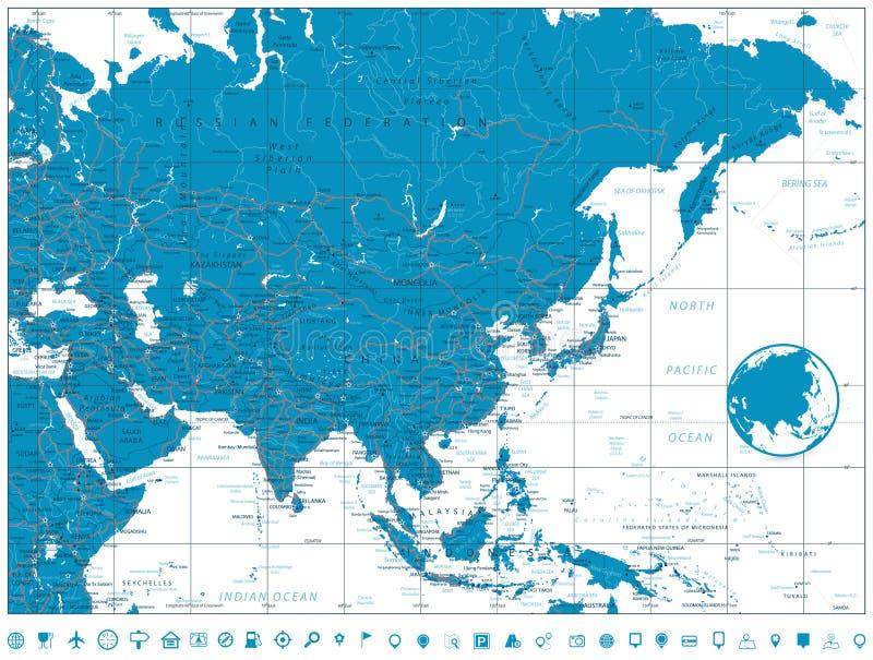 Mapa de estradas de Ásia ilustração do vetor