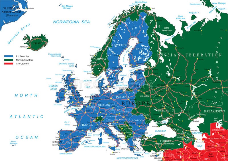 Mapa de estradas de Europa ilustração do vetor