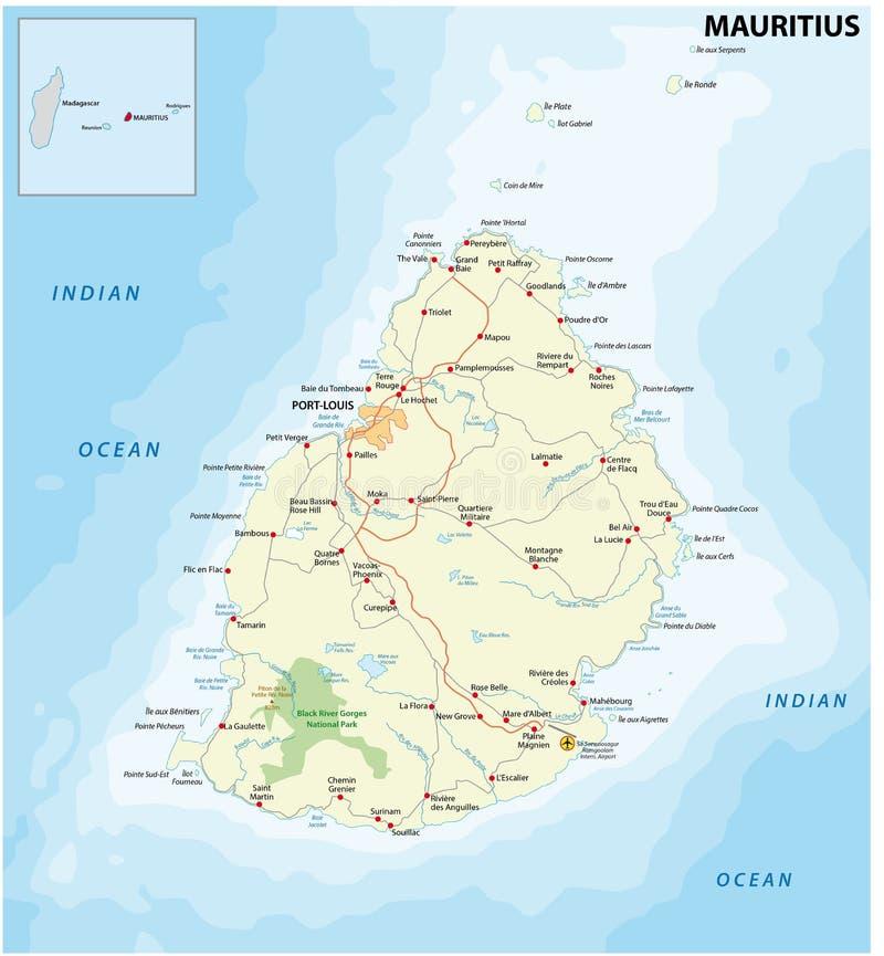 Mapa de estradas de Maurícias ilustração royalty free