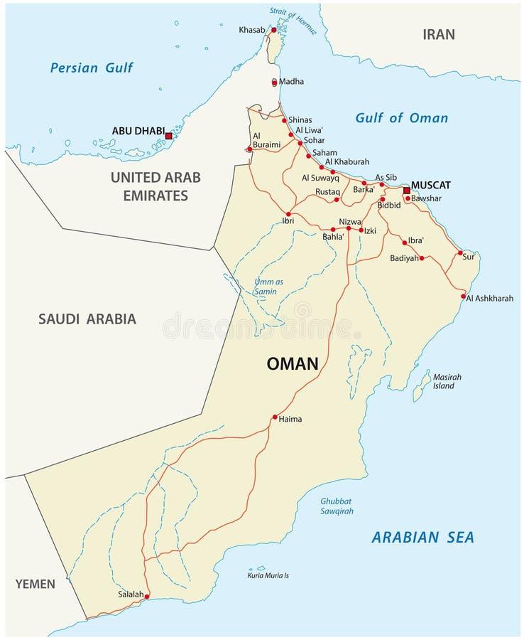 Mapa de estradas de Omã ilustração do vetor