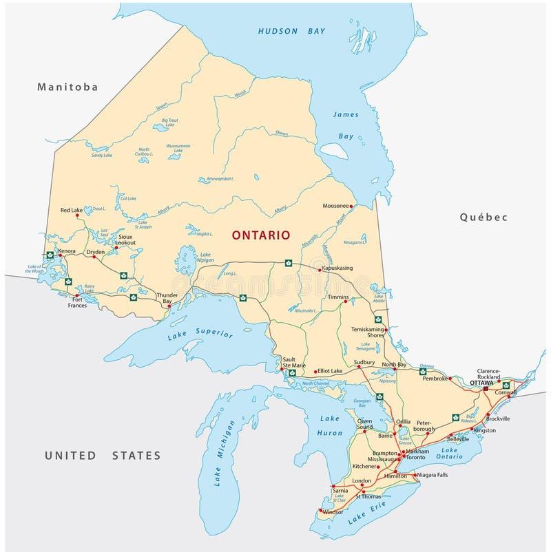 Mapa de estradas de Ontário ilustração royalty free
