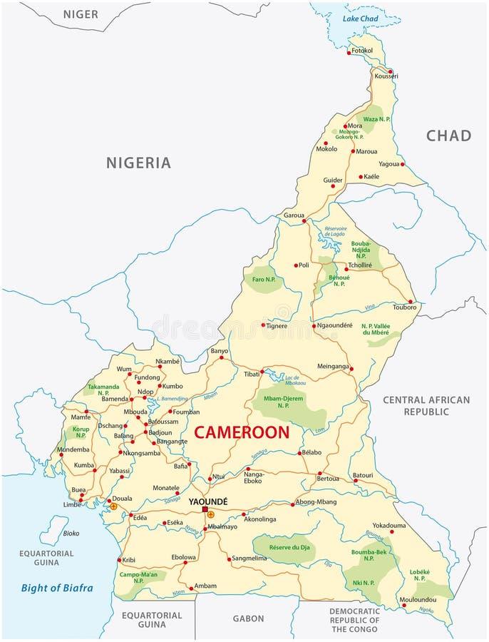 Mapa de estradas de República dos Camarões ilustração stock