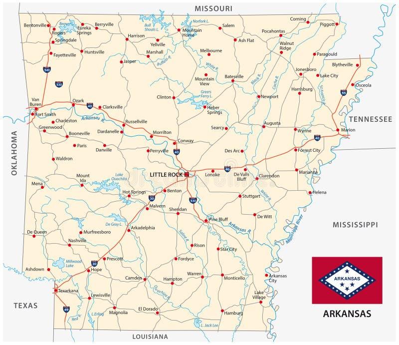 Mapa de estradas do estado de E.U. arkansas com bandeira ilustração stock