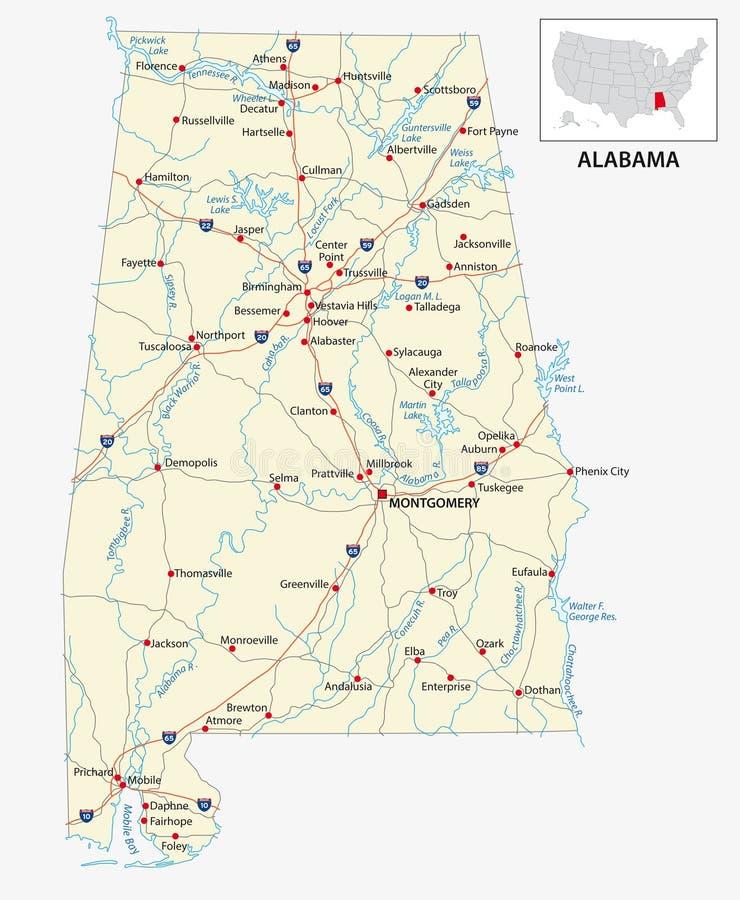 Mapa de estradas do estado dos E.U. de Alabama americano ilustração royalty free