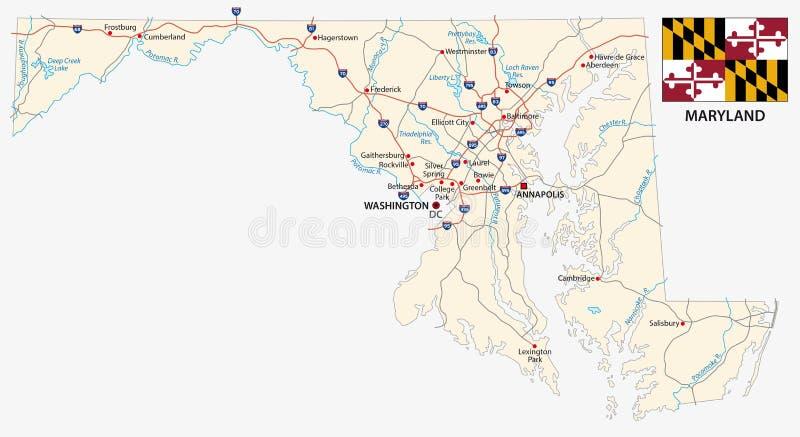 Mapa de estradas do estado federal de Maryland com bandeira ilustração stock