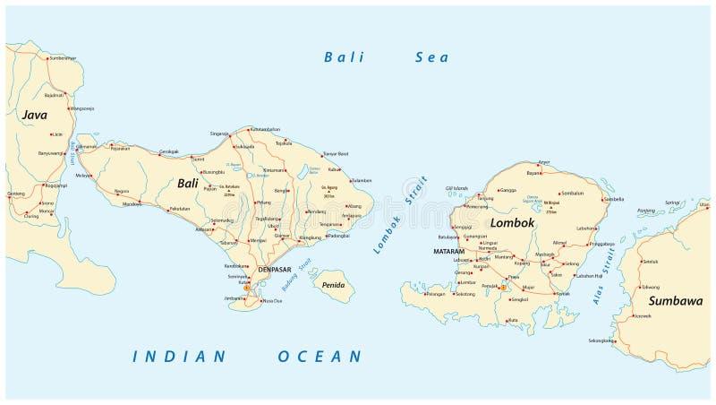 Mapa de estradas do indonésio Lesser Sunda Islands Bali e Lombok ilustração stock