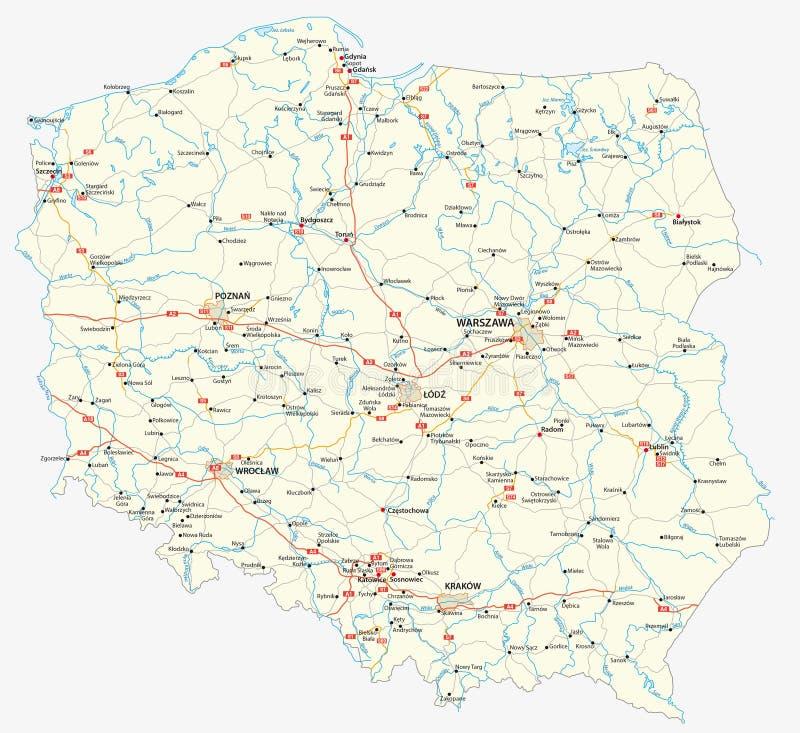 Mapa de estradas do Polônia ilustração do vetor