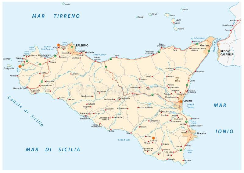 Mapa de estradas do vetor de Islândia Sicília, Italia ilustração stock