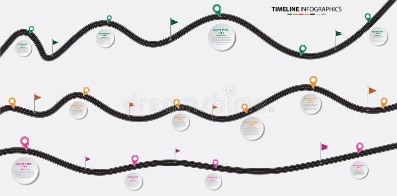 Mapa de estradas infographic do vetor com o espaço temporal e os pinos ilustração do vetor