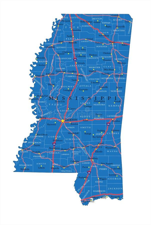 Mapa de estradas de Mississippi foto de stock