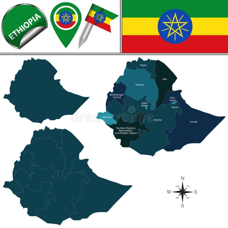 Mapa de Etiopía con Regions nombrada stock de ilustración
