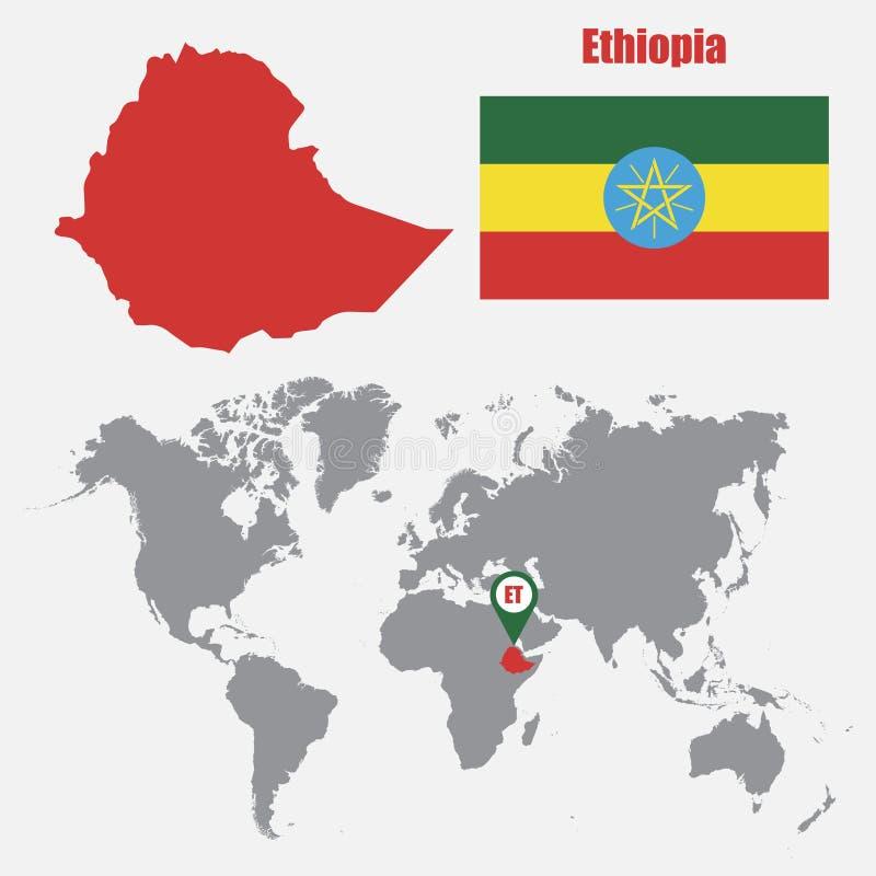 Mapa de Etiopía en un mapa del mundo con el indicador de la bandera y del mapa Ilustración del vector ilustración del vector