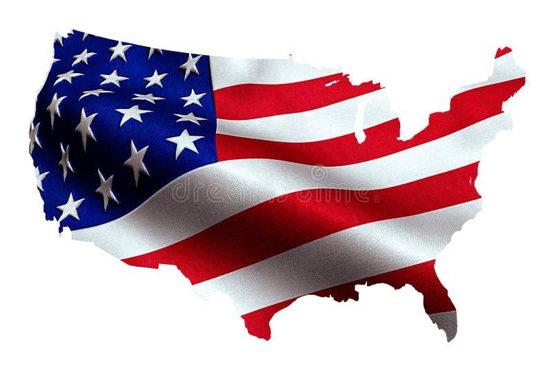 Mapa de EUA americanos com a bandeira de ondulação no fundo, Estados Unidos da América foto de stock royalty free