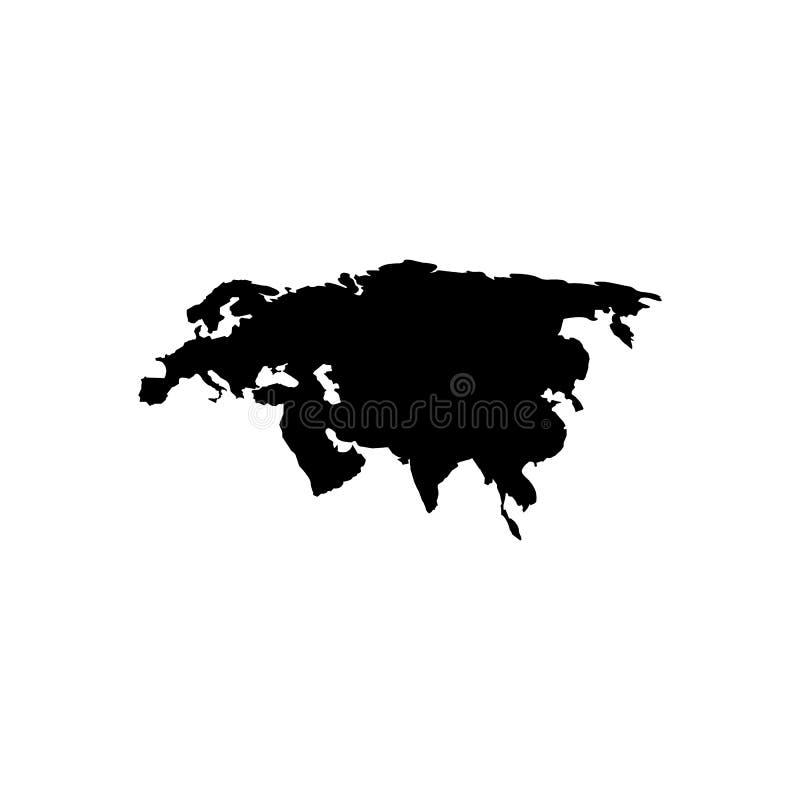 Mapa de Eurasia Diseño negro simple plano Vector eps10 ilustración del vector