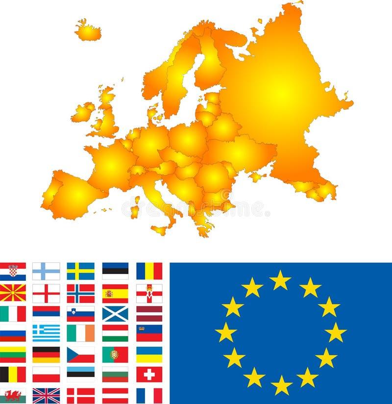 Mapa de Europa stock de ilustración