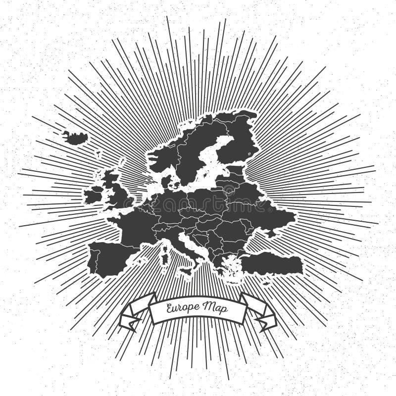 Mapa de Europa com a explosão da estrela do estilo do vintage, retro ilustração stock