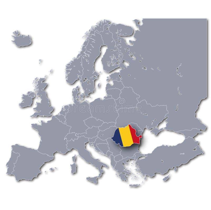 Mapa de Europa com Romênia ilustração stock