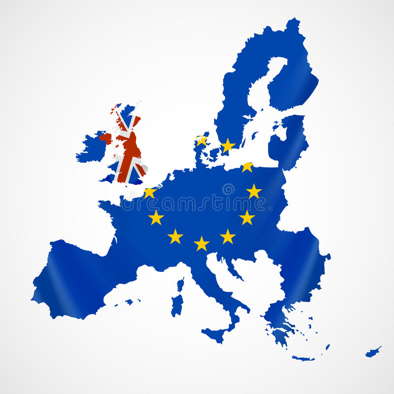 Mapa de Europa com sindicalistas e Grâ Bretanha ou Reino Unido europeu no brexit ilustração royalty free