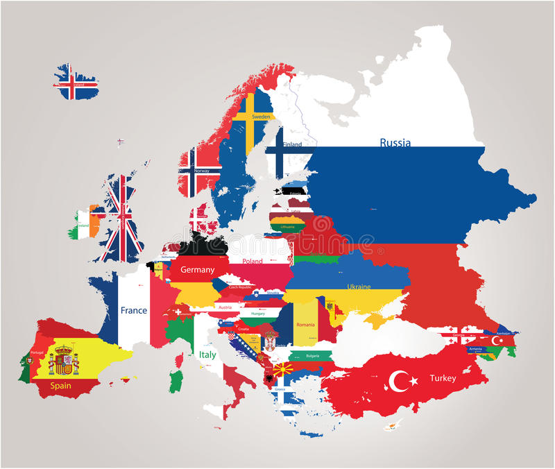 Mapa de Europa cominated com bandeiras ilustração stock