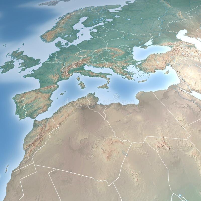 Mapa de Europa e de Norte de África ilustração do vetor