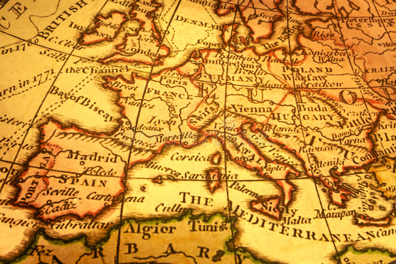 Mapa de Europa e mediterrâneo velhos fotografia de stock royalty free