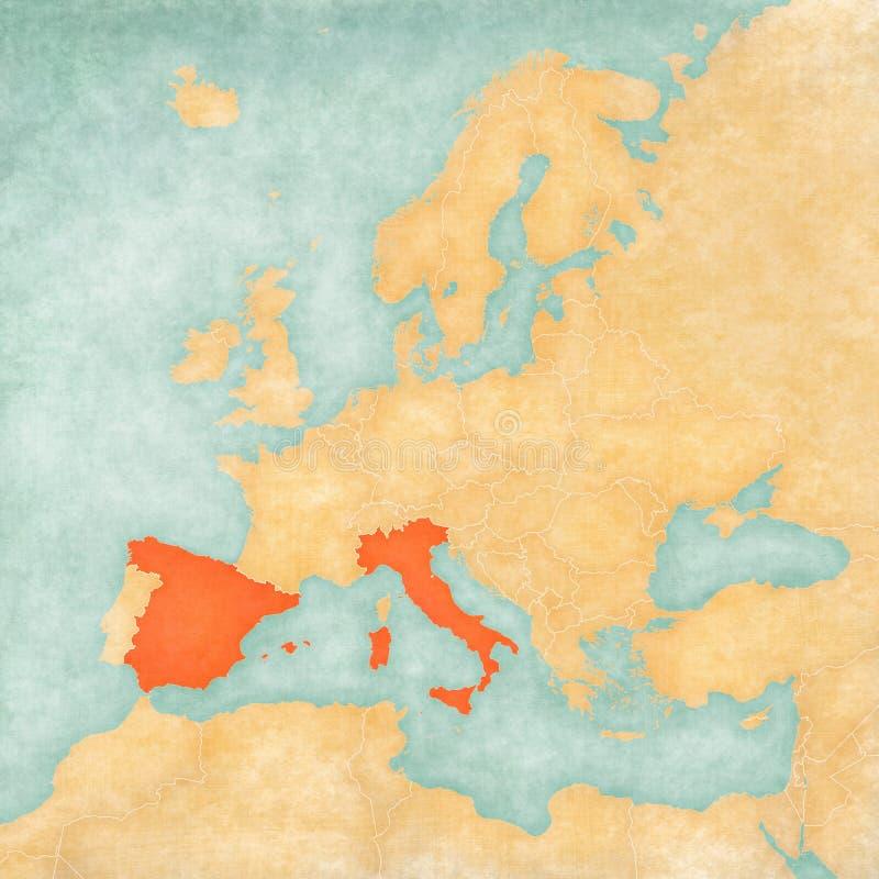Mapa de Europa - de Italia y de España stock de ilustración