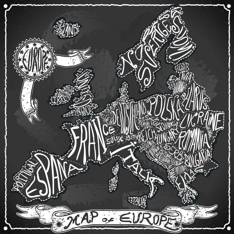 Mapa de Europa no quadro-negro da escrita do vintage ilustração royalty free