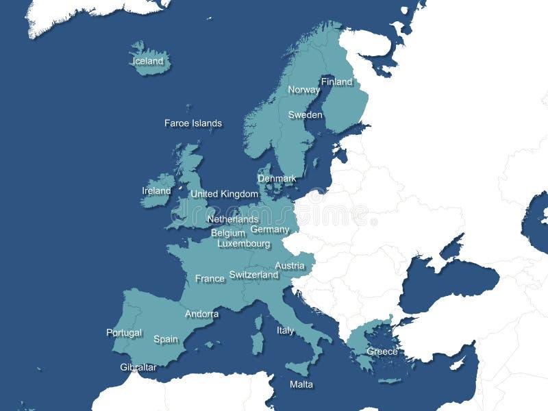 Mapa de Europa ocidental ilustração stock