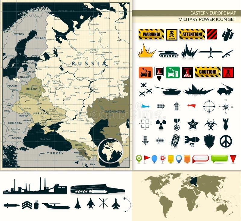 Mapa de Europa Oriental con un sistema del icono de la potencia militar stock de ilustración