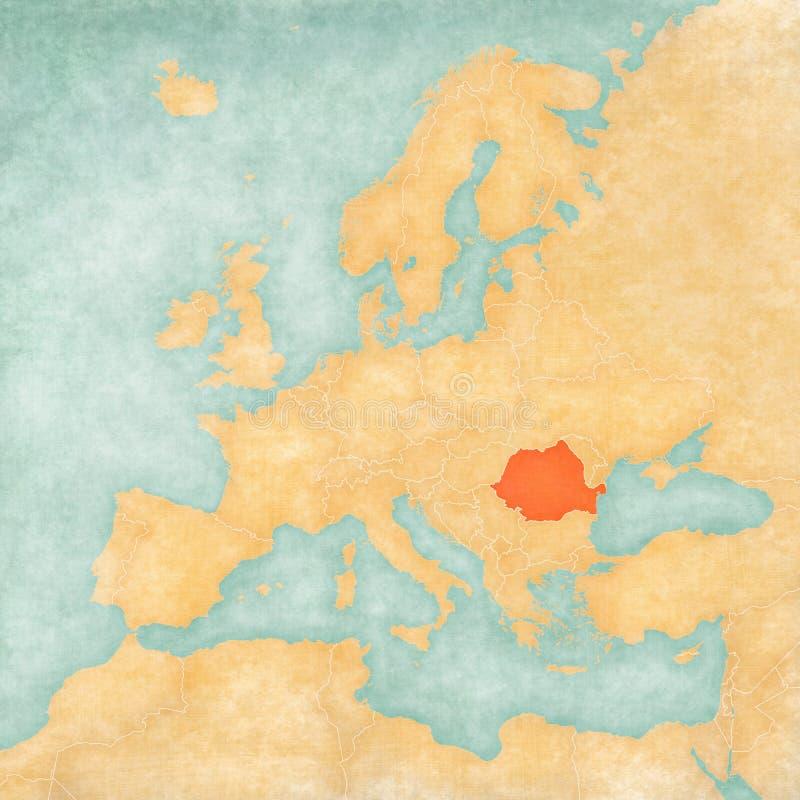 Mapa de Europa - Romênia ilustração royalty free