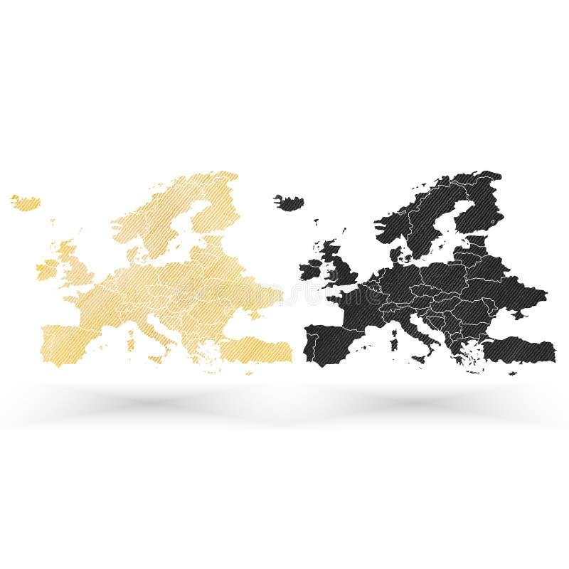Mapa de Europa, textura de madeira do projeto, vetor ilustração stock