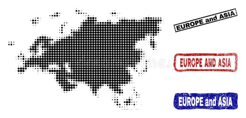 Mapa de Europa y de Asia en Dot Style de semitono con los sellos del título del Grunge ilustración del vector