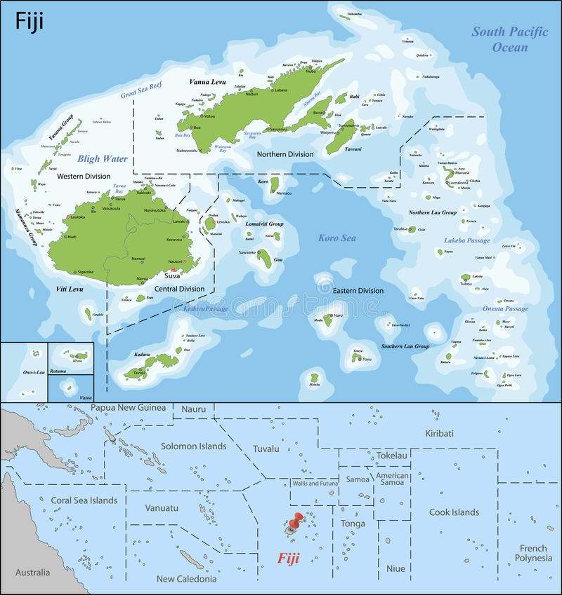 Mapa de Fiji ilustração royalty free