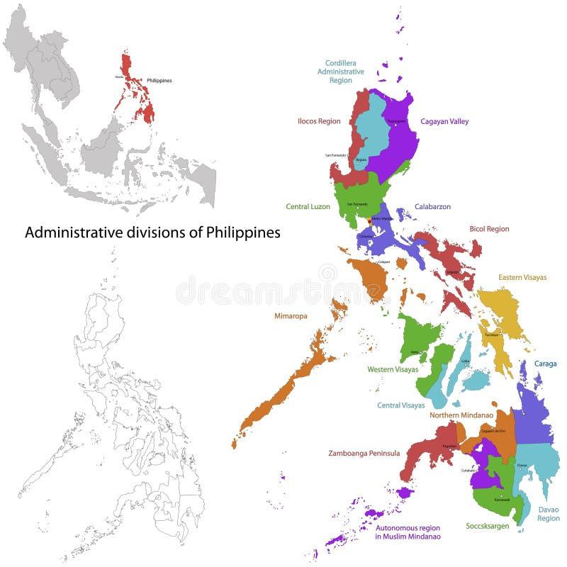 Mapa de Filipinas ilustração stock