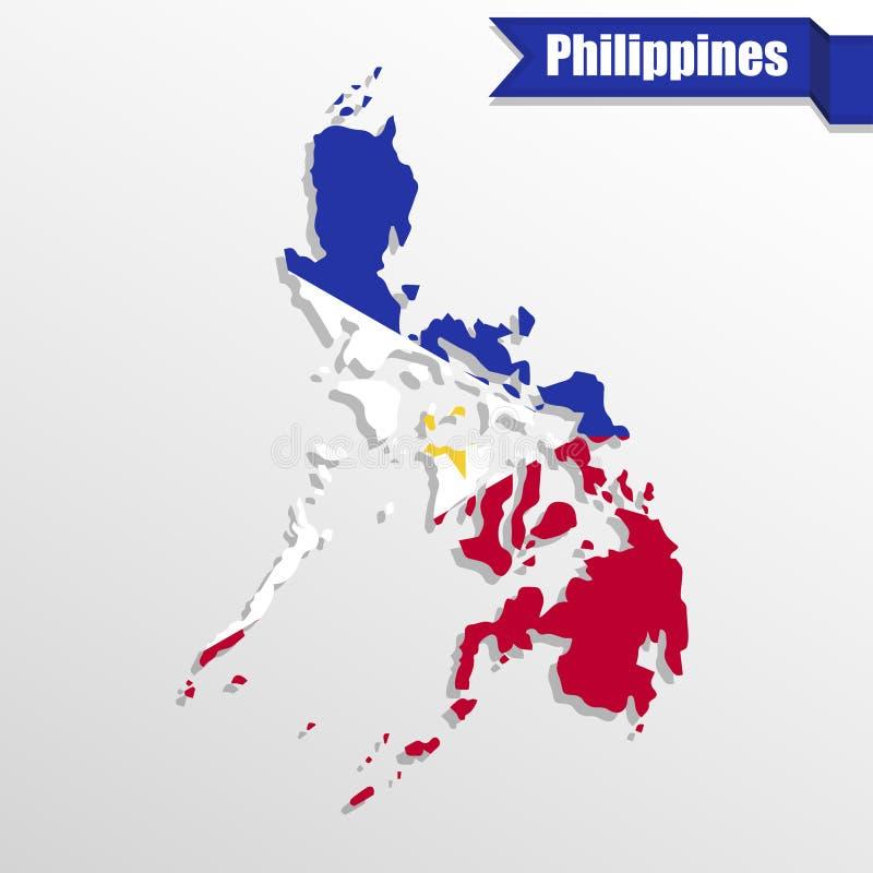 Mapa de Filipinas com interior e fita da bandeira ilustração royalty free