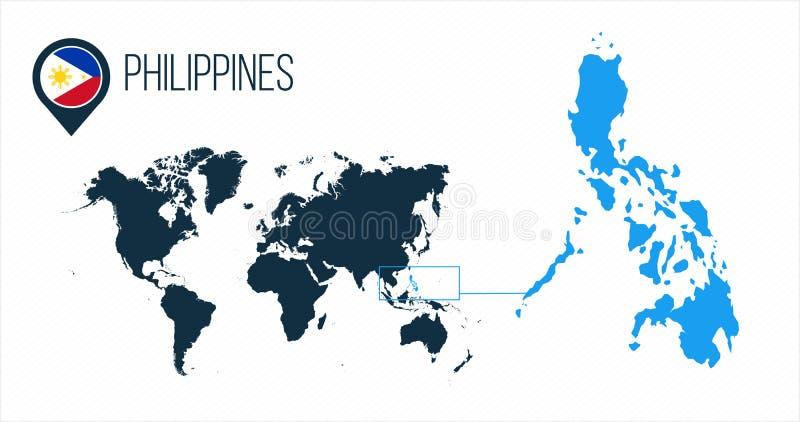 Mapa de Filipinas situado en un mapa del mundo con la bandera e indicador o perno del mapa Mapa de Infographic Ejemplo del vector stock de ilustración