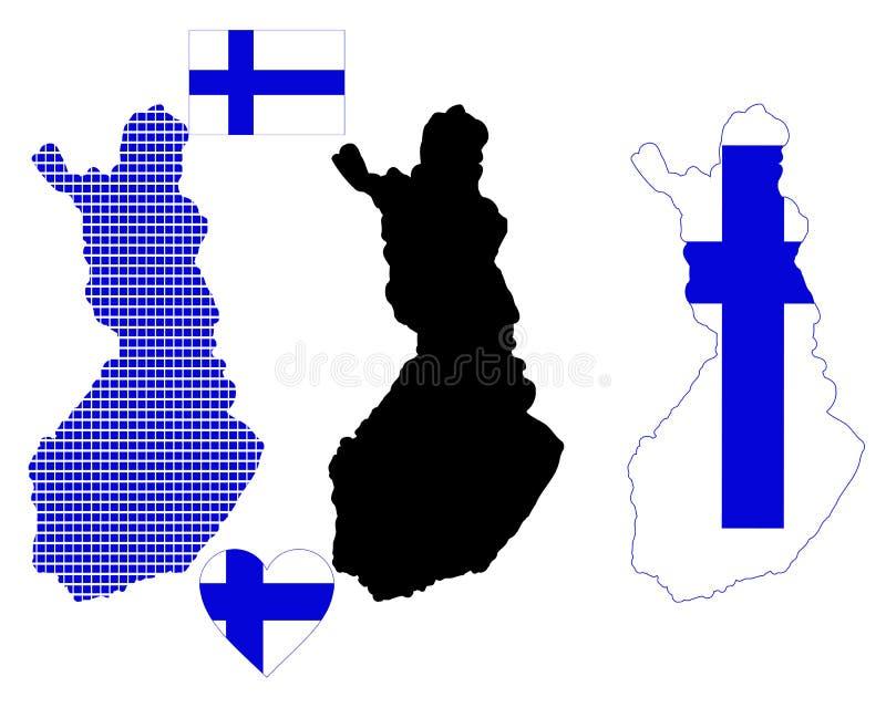 Mapa de Finlandia ilustração stock