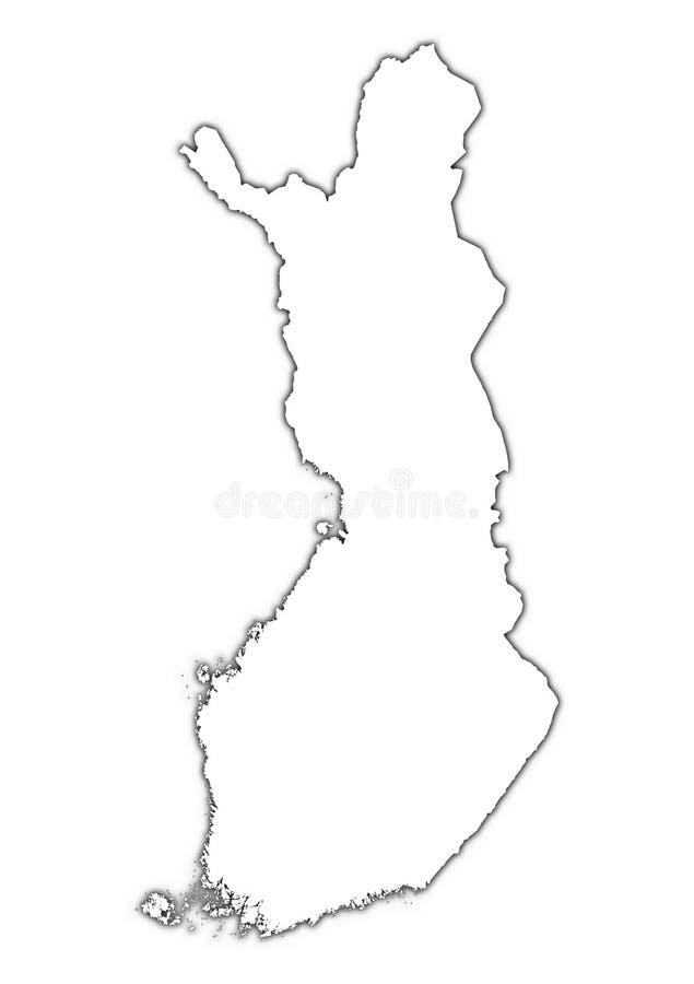 Mapa de Finlandia com sombra ilustração do vetor