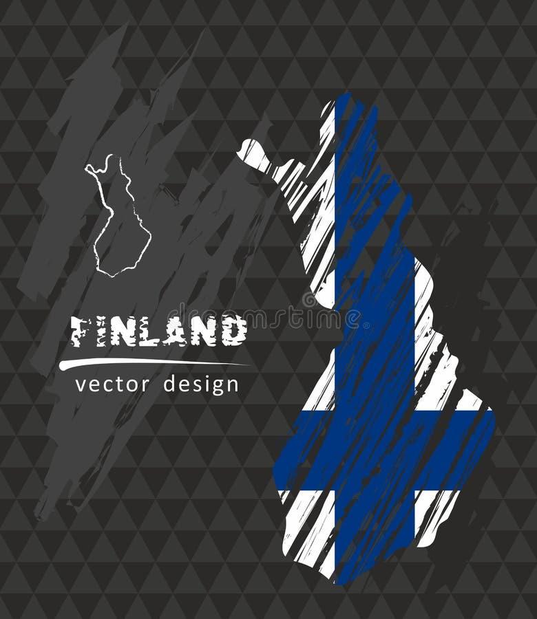 Mapa de Finlandia con la bandera dentro en la pizarra Ejemplo del vector del bosquejo de la tiza stock de ilustración