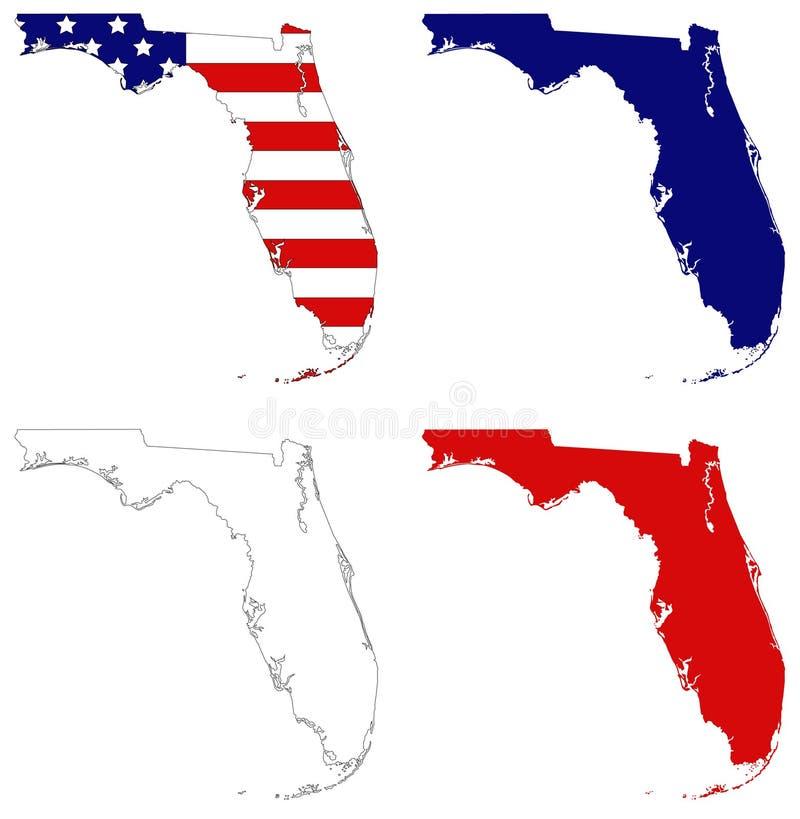 Mapa de Florida com bandeira dos EUA - estado contíguo do extremo sul no Estados Unidos ilustração royalty free
