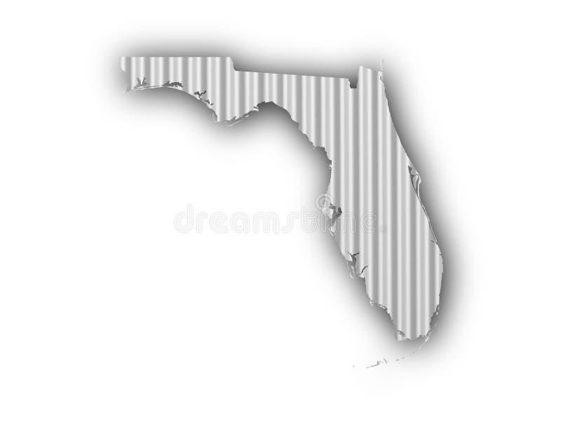 Mapa de Florida em ferro ondulado ilustração do vetor