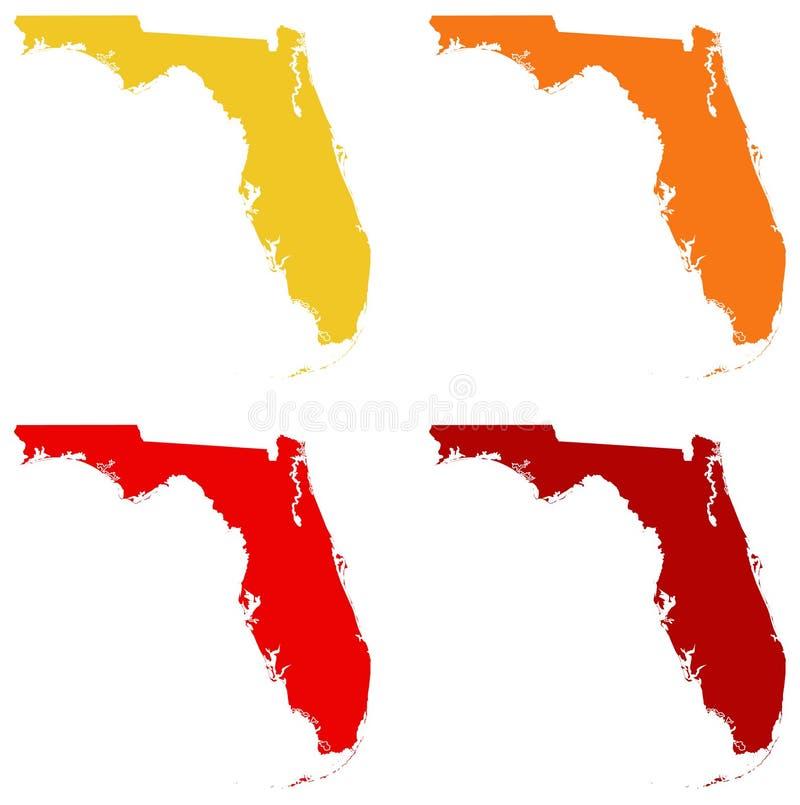 Mapa de Florida - estado contíguo do extremo sul no Estados Unidos ilustração royalty free