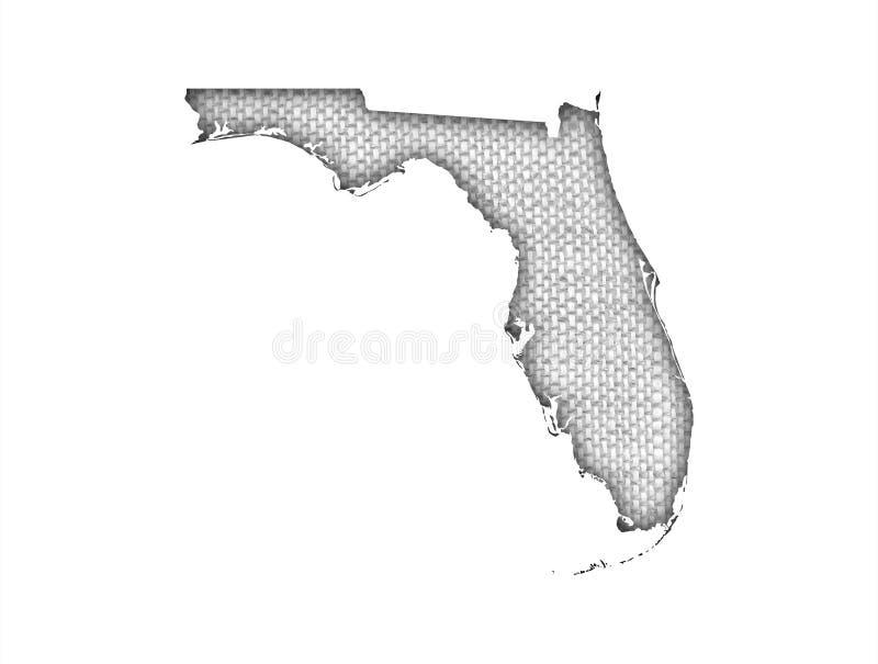 Mapa de Florida no linho velho ilustração royalty free