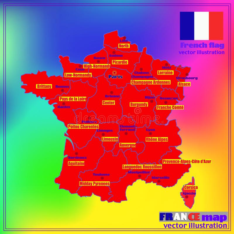 Mapa de França com regiões francesas Vetor ilustração royalty free