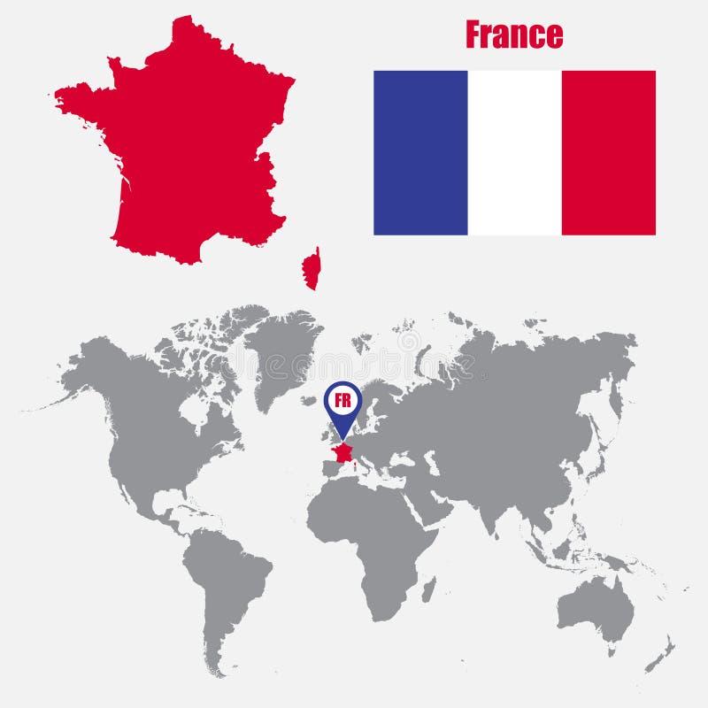 Mapa de França em um mapa do mundo com o ponteiro da bandeira e do mapa Ilustração do vetor ilustração stock
