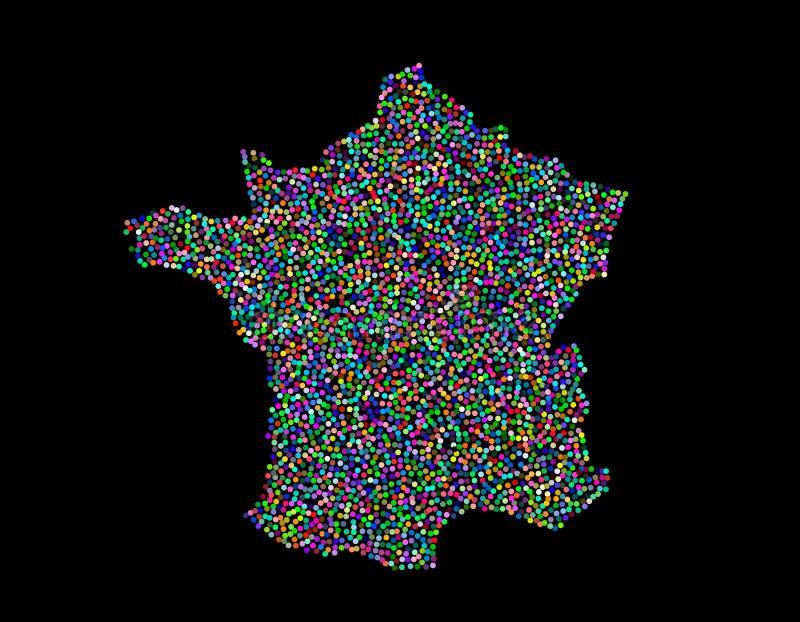 Mapa de França Isolado no fundo preto Ilustração do vetor ilustração royalty free