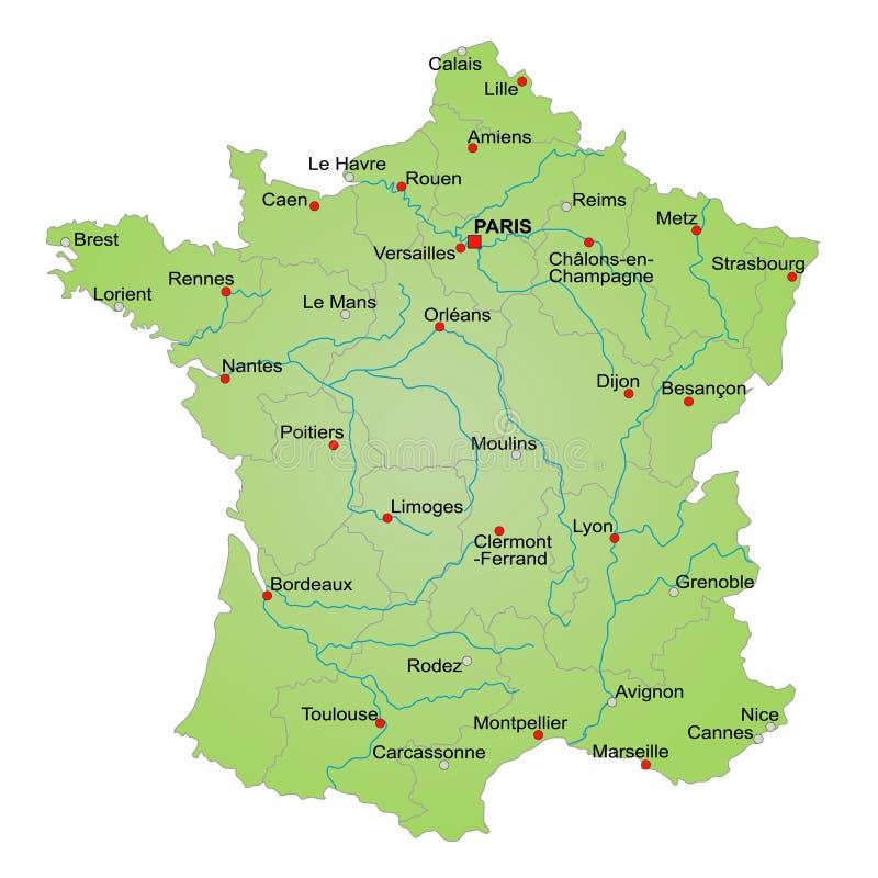 Mapa de France ilustração do vetor