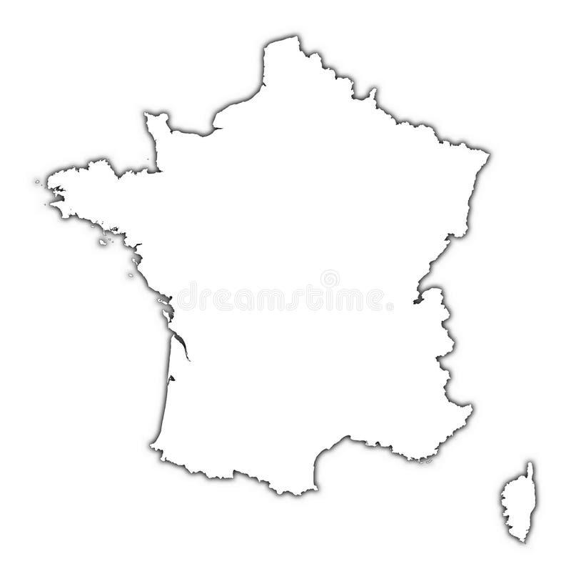 Mapa de France com sombra ilustração do vetor